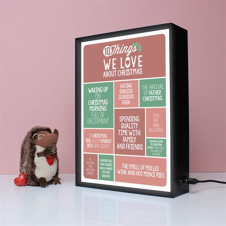 Personalised 10 Things We Love About Christmas Light Box