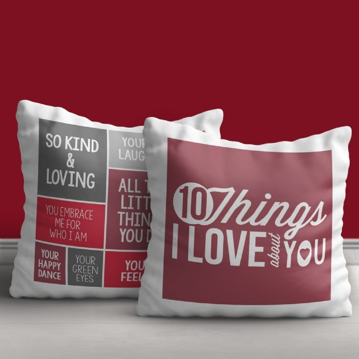 10 Things I Love About You Personalised Cushion