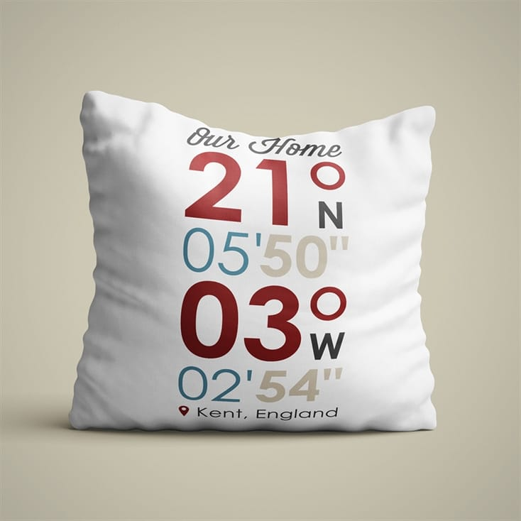 Personalised Location Coordinates Cushion