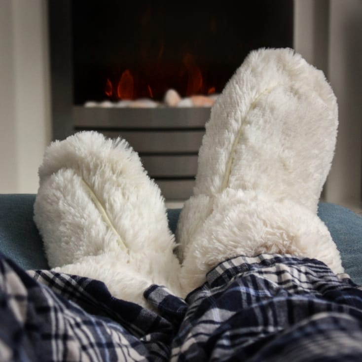 Microwavable Slippers - Cream Boots