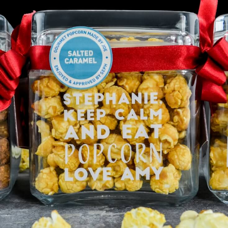 Personalised Joe & Sephs Popcorn Glass Jars