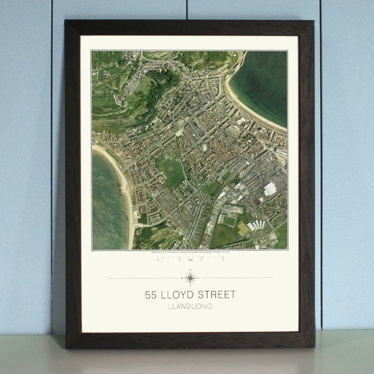 Your Home Aerial View Map Print - England and Wales only
