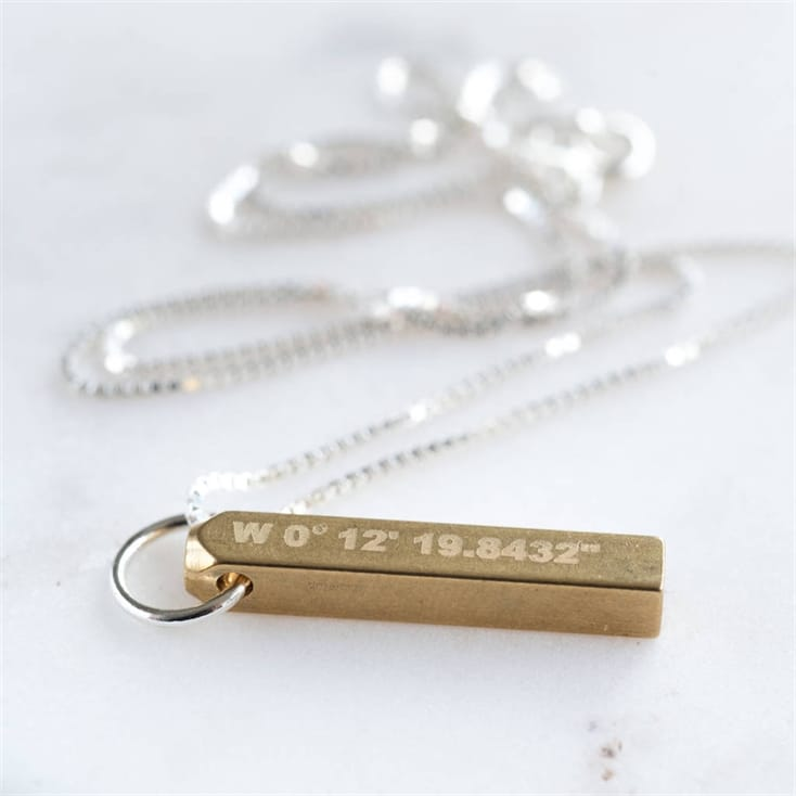 Brass Bar Coordinates Necklace
