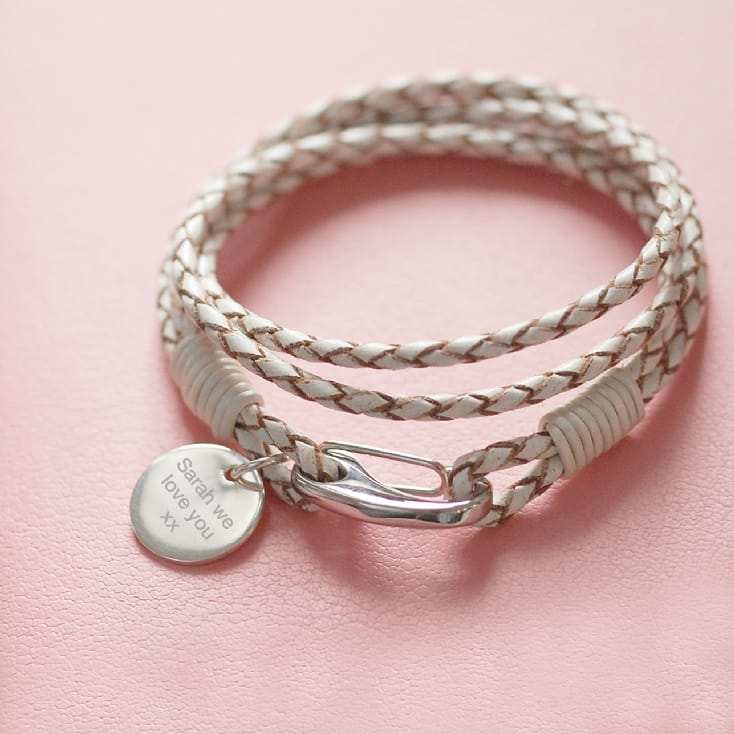 Personalised White Leather Braided Bracelet