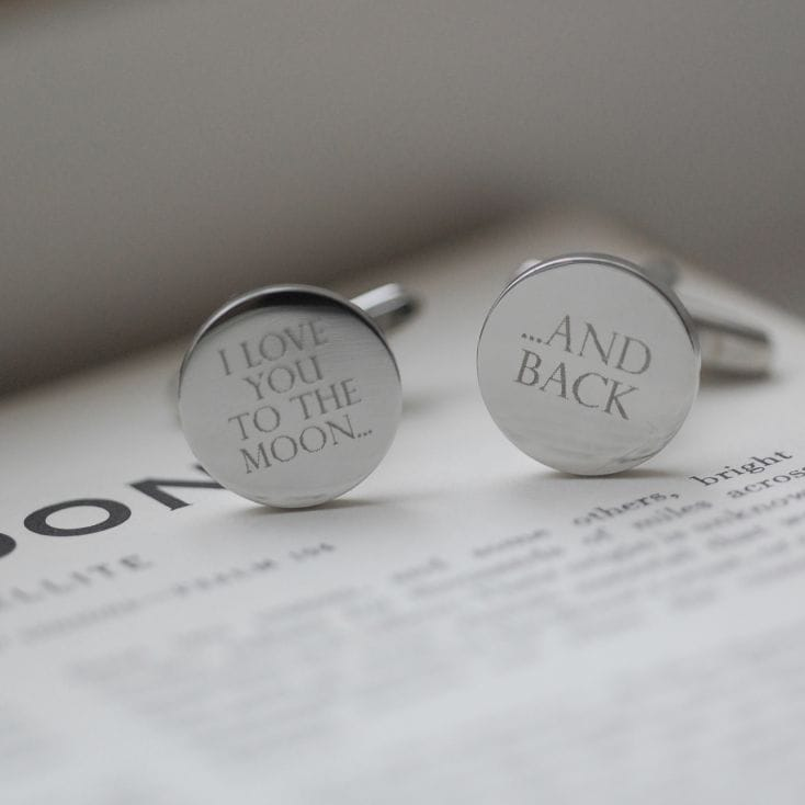 Moon and Back Silver Cufflinks