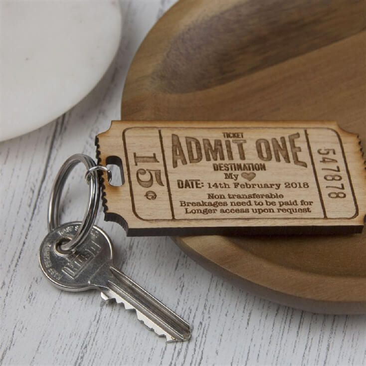 Personalised Ticket to My Heart Keyring