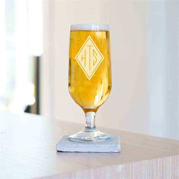 Engraved Monogram Initials Craft Beer Glass