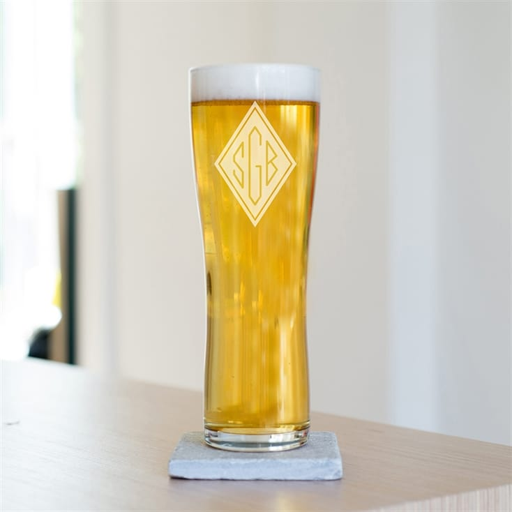 Engraved Monogram Initials Pint Glass
