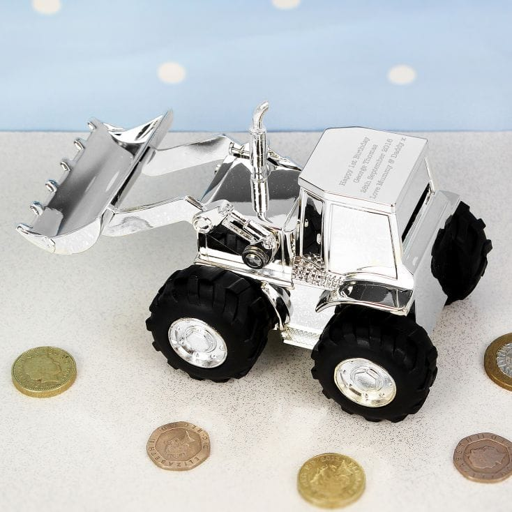 Silver Plated Personalised Tractor Money Box