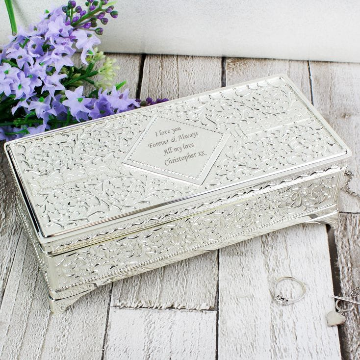 Antique Style Personalised Silver Plated Jewellery Box