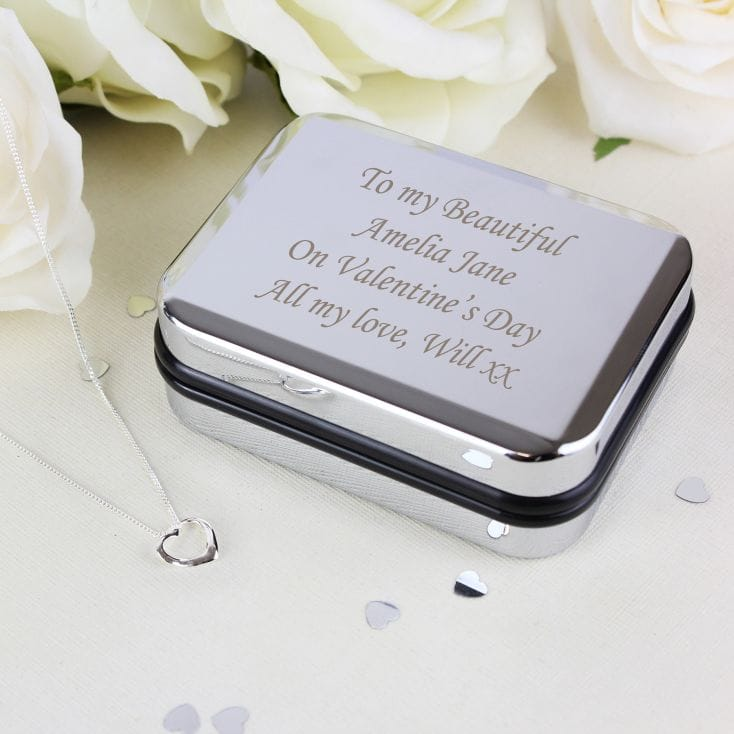 Personalised Box and Silver Heart Necklace