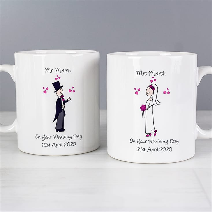 Personalised Wedding Mugs - Cartoon Bride and Groom