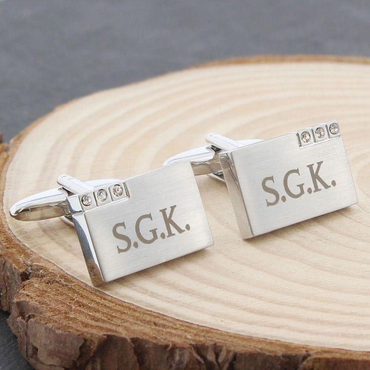 Engraved Cufflinks With Crystals