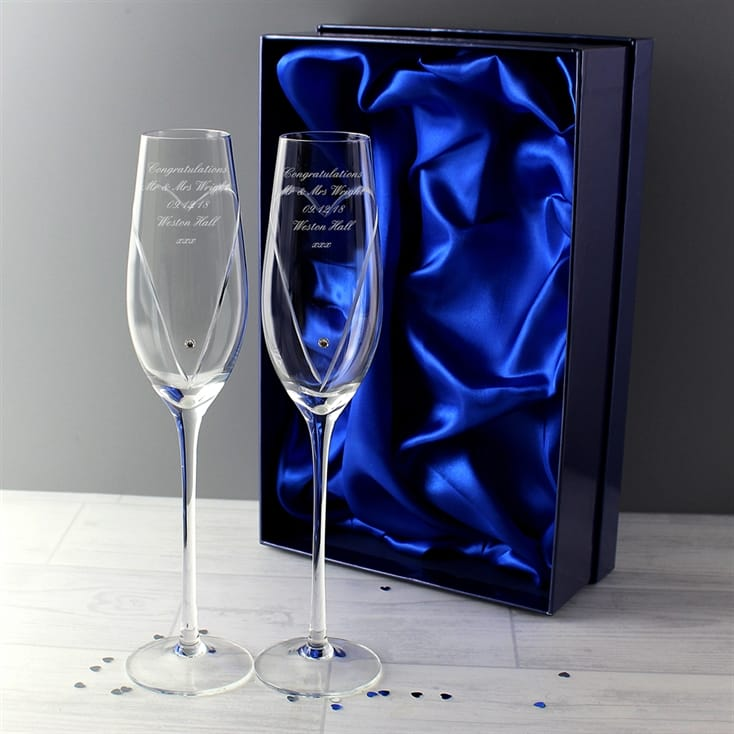 Personalised Champagne Glasses - Heart Design