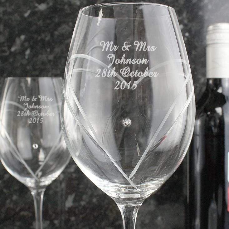 Personalised Heart Wine Glasses