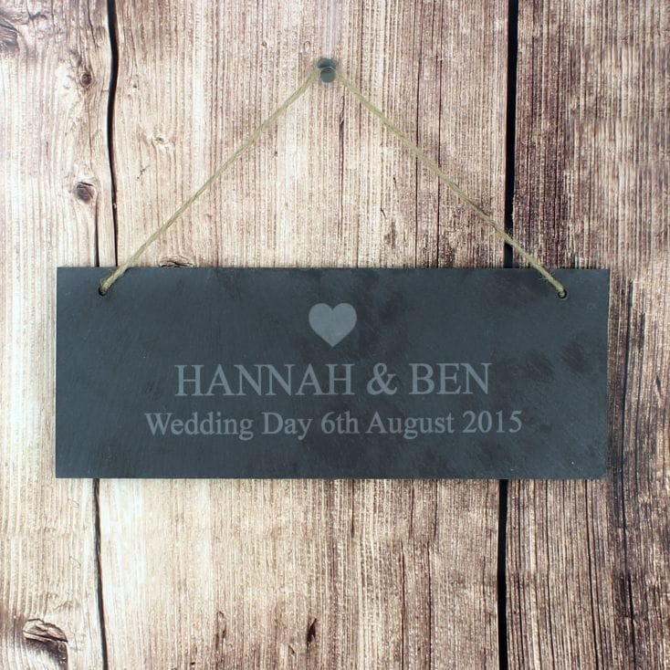 Personalised Slate Door Plaque - Heart Design