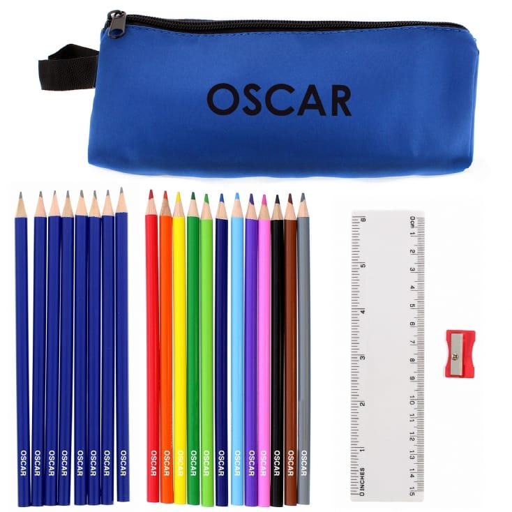 Personalised Blue Pencil Case Set