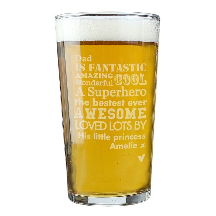 Bubble Base Design Personalised 1 Pint Lager Beer Glass Engraved with any Name