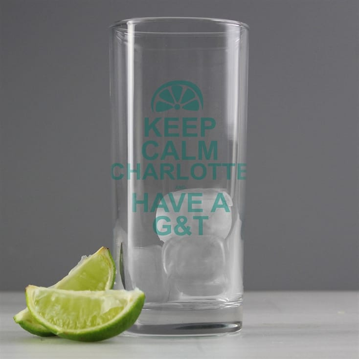 Keep Calm Personalised Gin and Tonic Glass