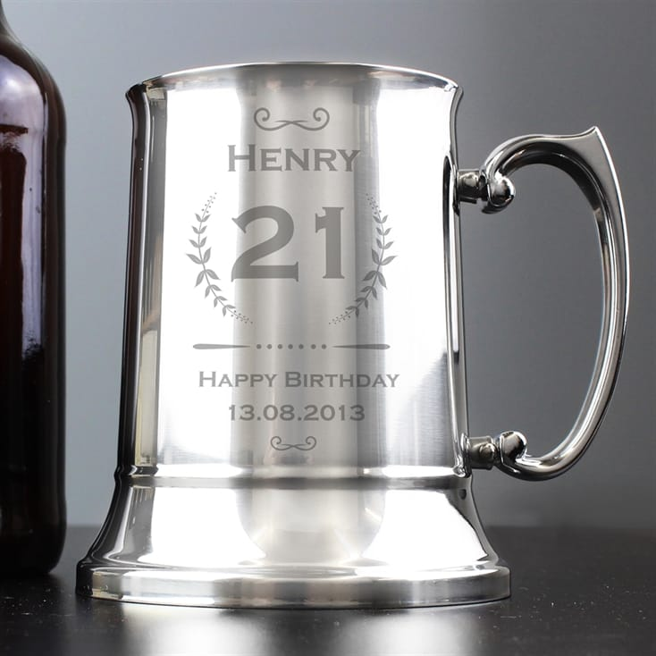 Age Crest Personalised 21 Stainless Steel Tankard