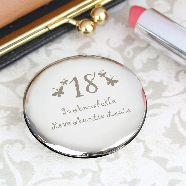 Personalised 18th Birthday Compact with Butterfly Design