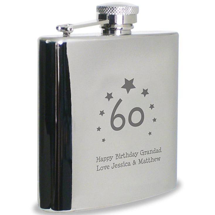 60th Birthday Hip Flask Engraved