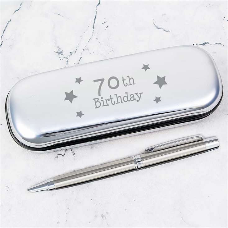70th Birthday Engraved Pen Case and Ballpoint