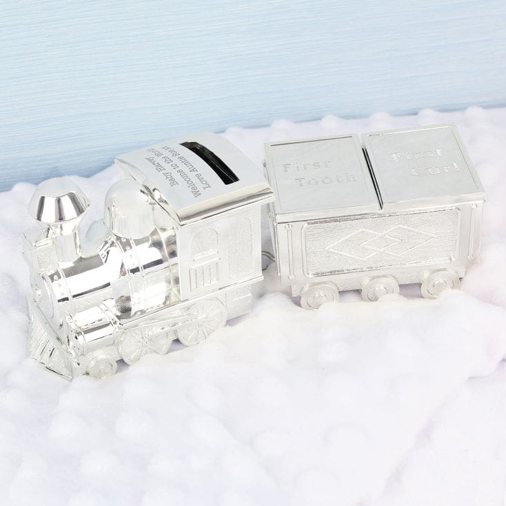 Personalised Train With Tooth Curl Money Box