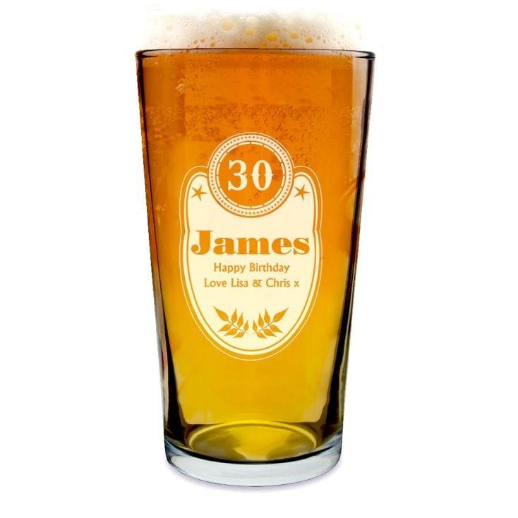 Personalised Birthday Pint Glass
