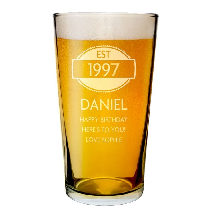 Year of Establishment 18th Birthday Glass