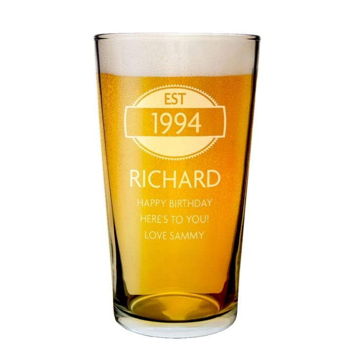 Personalised 21st Birthday Est Year Pint Glass