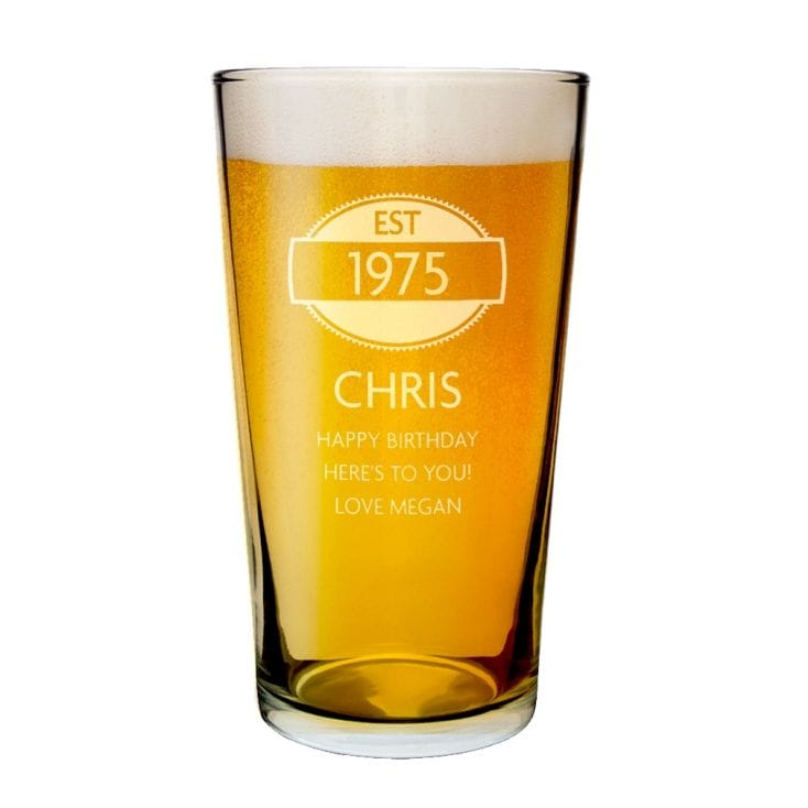 40th Gifts Personalised Year Pint Glass – Personalised 40th Birthday Cards for Men