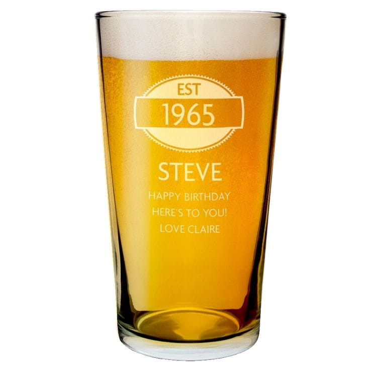 Personalised 50th Birthday Glass