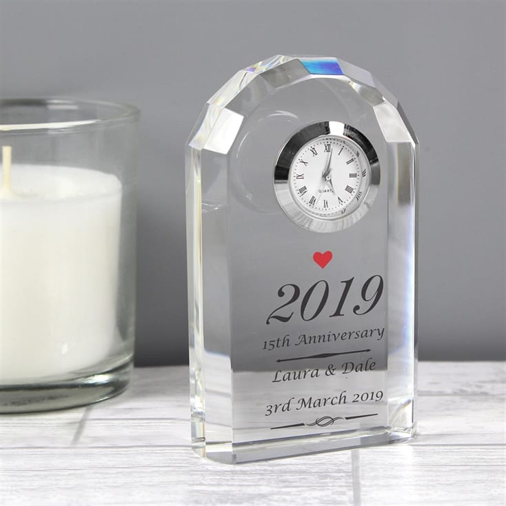 Personalised Glass Anniversary Clock