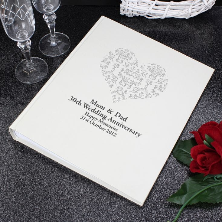 Personalised Silver Damask Heart Photo Album
