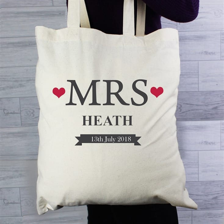mrs personalised tote bag