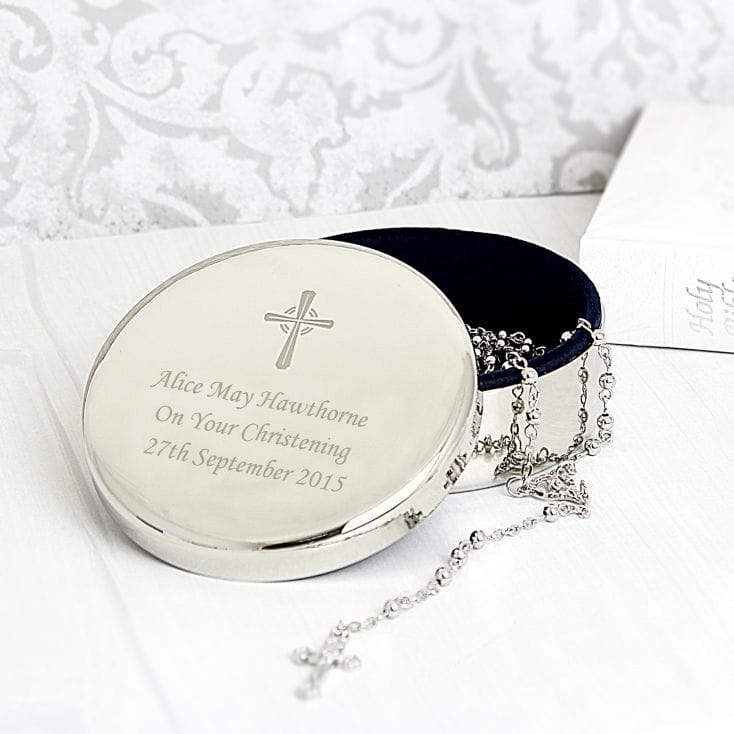 christening trinket box with rosary beads