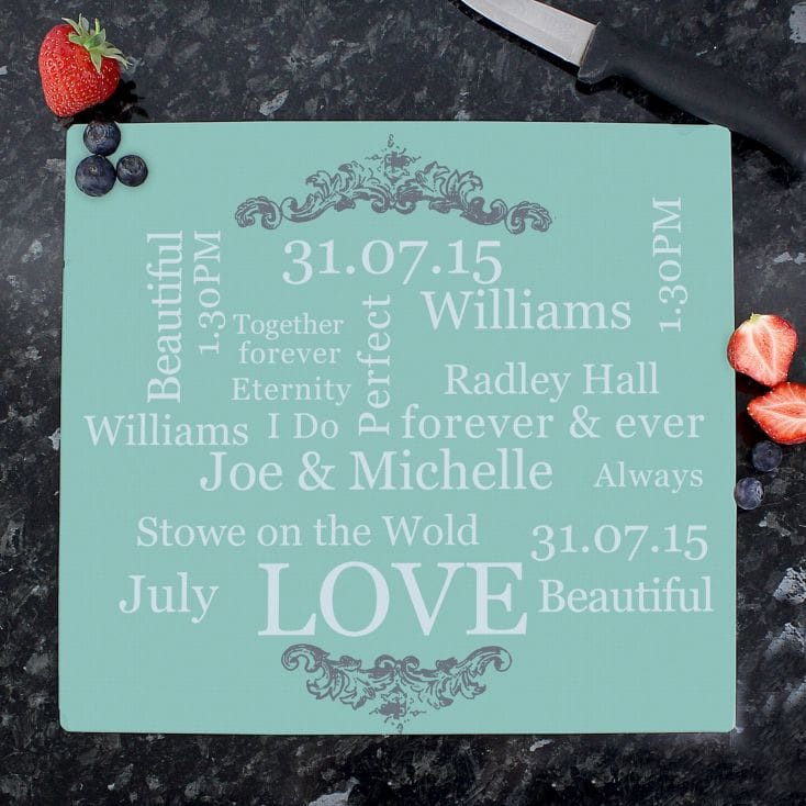 Wedding Day Personalised Glass Chopping Board