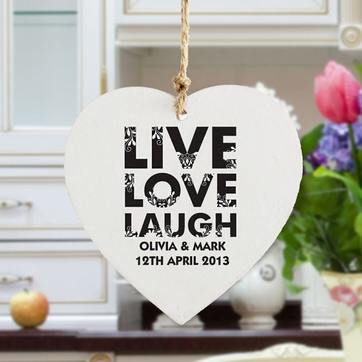 Live Love Laugh Wooden Heart Decoration