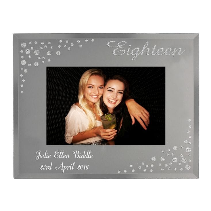 Personalised 18th Birthday Diamante Glass Photo Frame