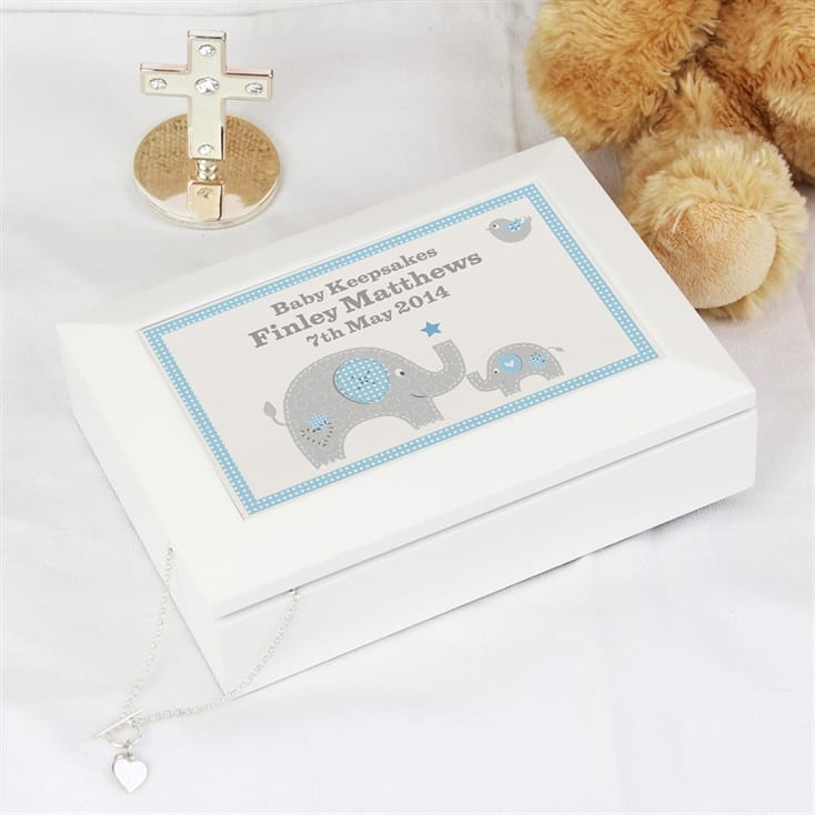 Blue Baby Elephant White Wooden Keepsake Box | Thumb