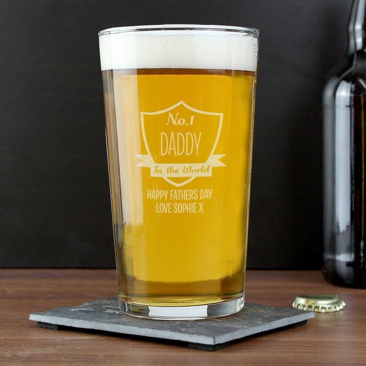 no 1 shield pint glass