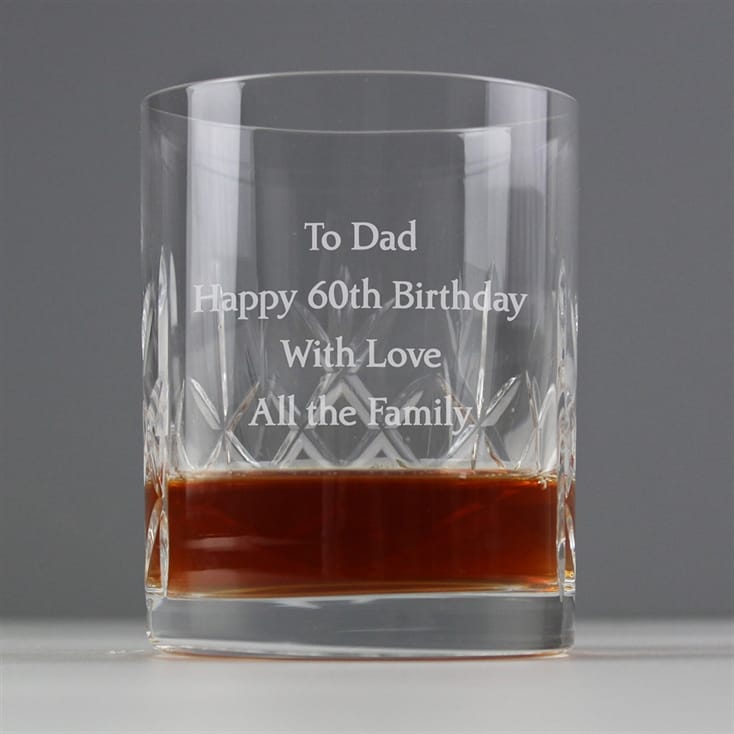 Personalised Crystal Whisky Tumbler 60th Birthday Gift For Him