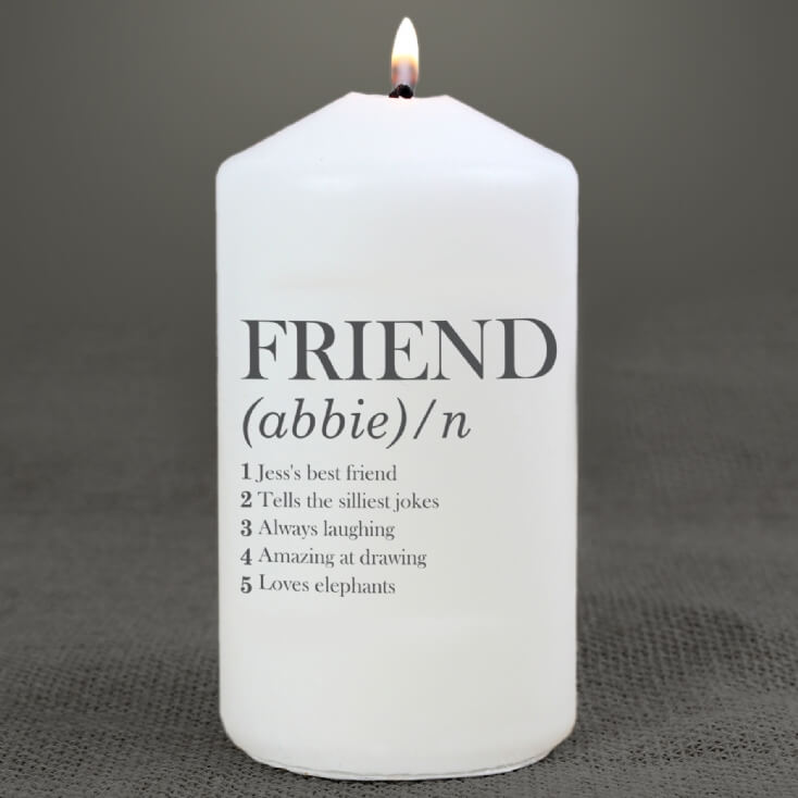Personalised Friend Definition Candle