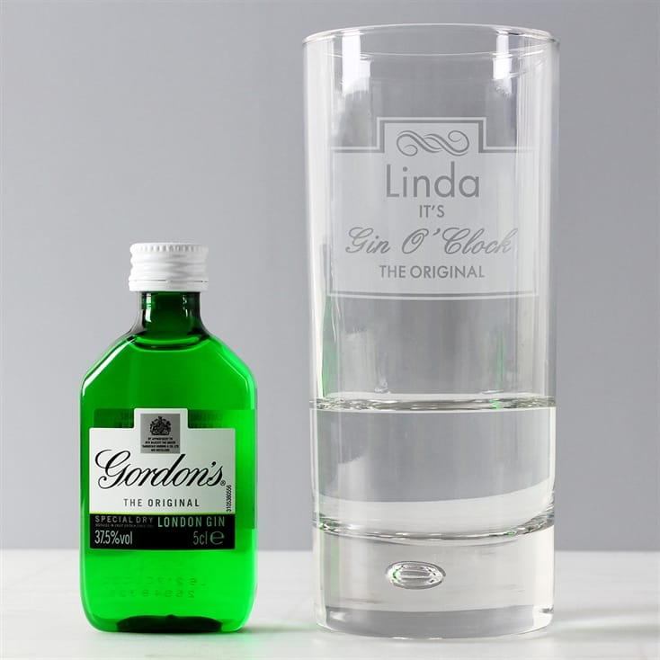 Personalised Gin O Clock Glass with Gin Miniature | Thumb