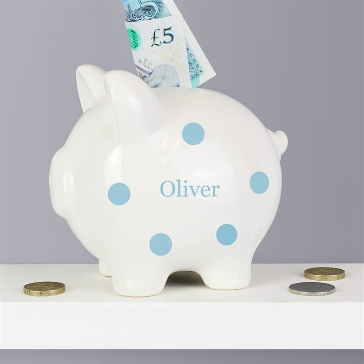 blue polka dot personalised piggy bank