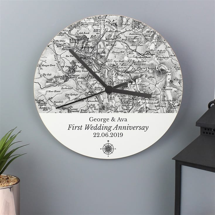 Personalised 1805 - 1874 Old Series Map Compass Wooden Clock
