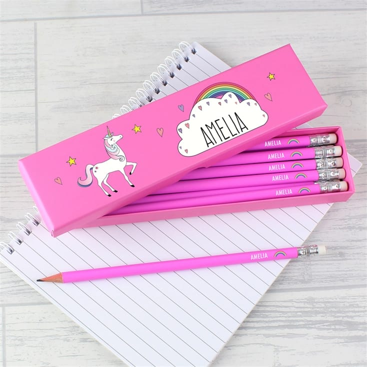 Personalised Unicorn Box of Pink Pencils