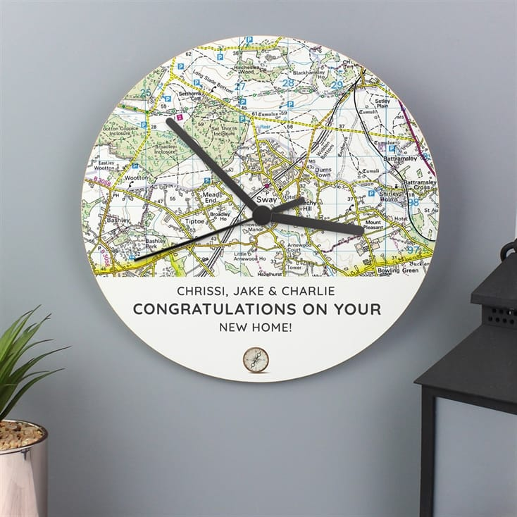 Personalised Wooden Map Clock