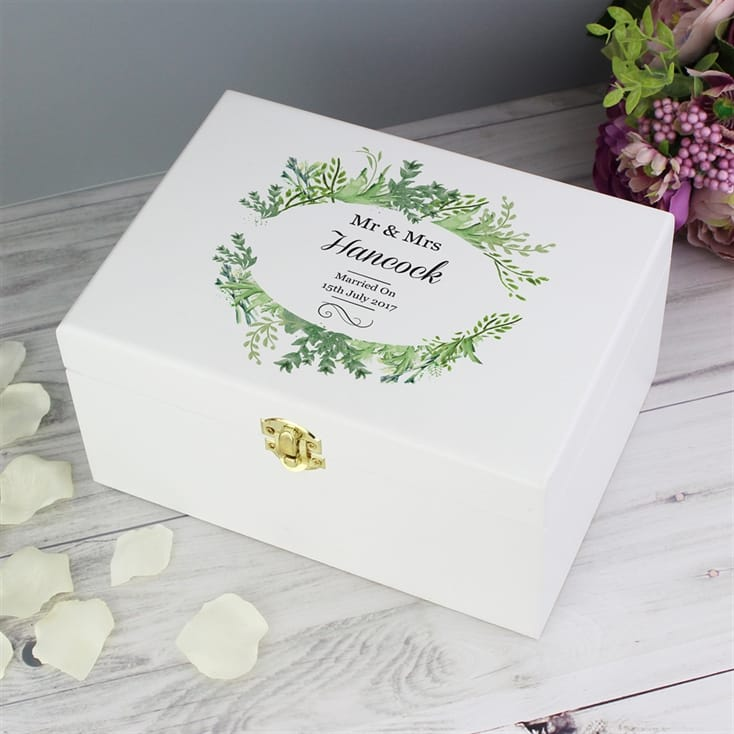 Personalised Botanical White Keepsake Box